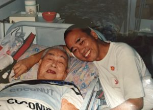 Visiting his father in Hong Kong.