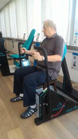 Mike Rollings on the exercise machine.