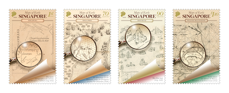 Maps of early Singapore on latest stamps